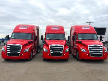 DM Express Red Trucks Fleet