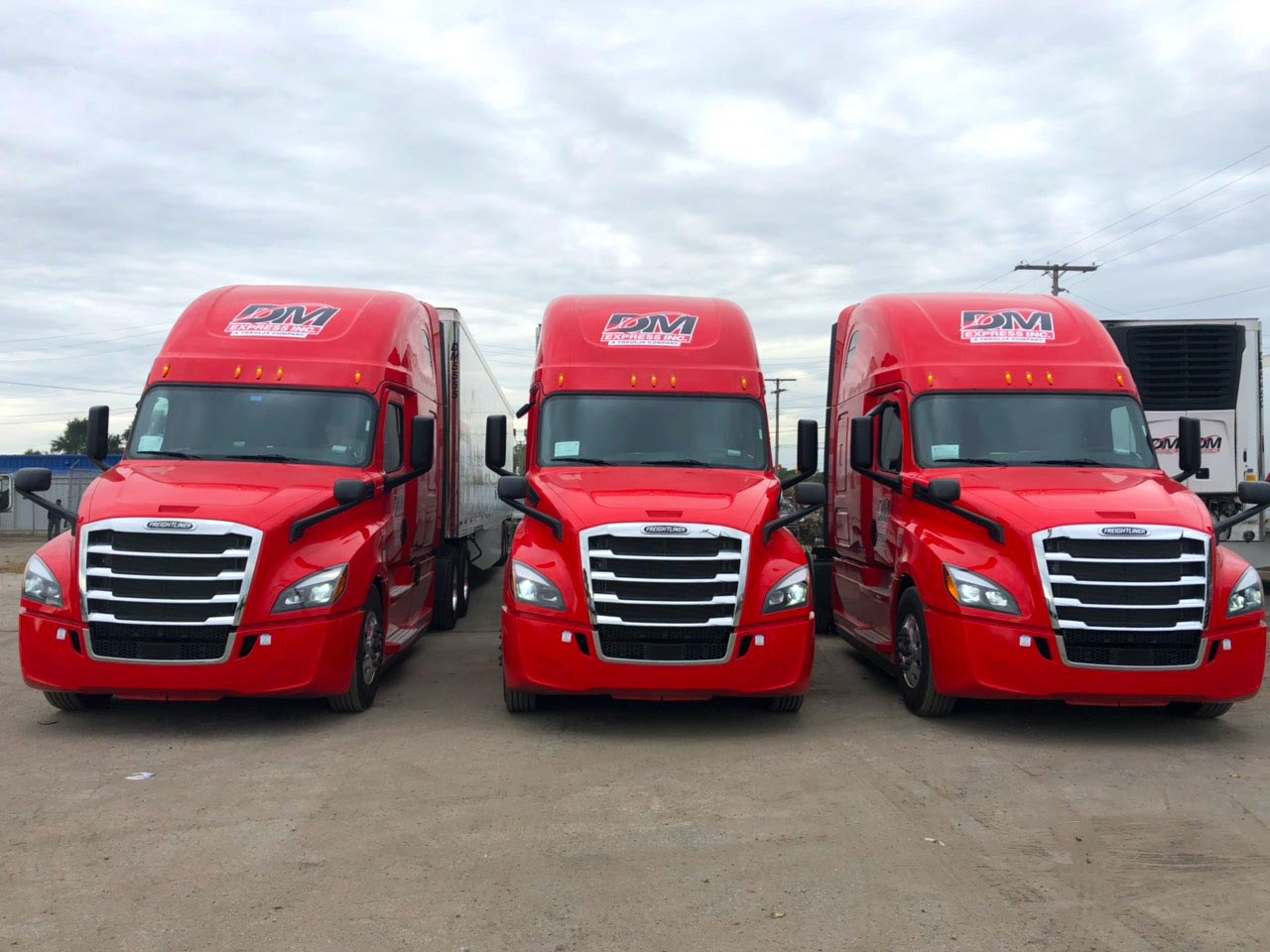 DM Express Red Trucks Fleet